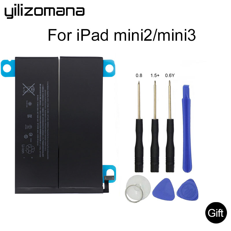 YILIZOMANA For iPad mini 2 / 3 6471mAh Original Replacement Battery for 2/3 A1489 A1490 A1491 A1599 + Tools