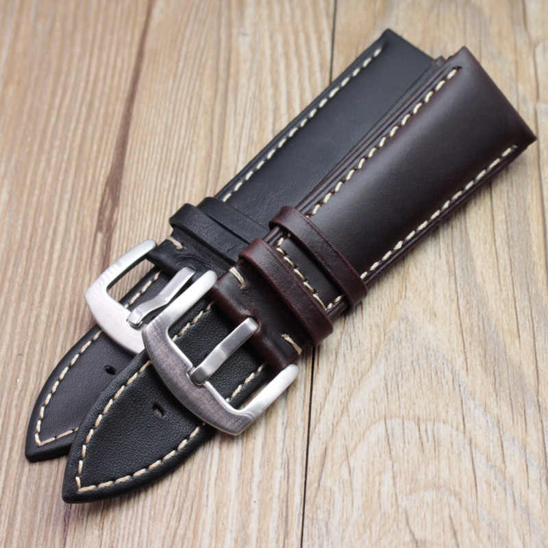 Retro Kulit Asli Watchband Pria 22 Mm 24 Mm Tali Sikat Stainless Steel Gesper Aksesoris untuk Panerai