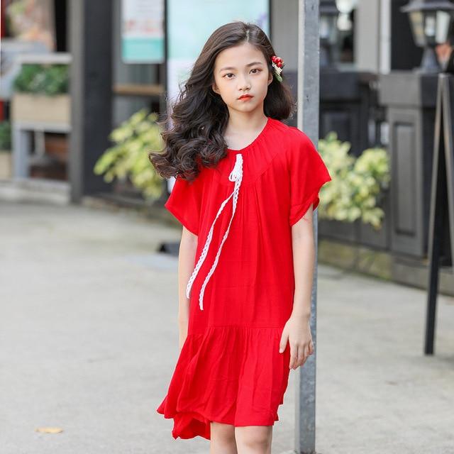 19eccefe61d0 Teenage Kids Dresses for Girls Princess Dress 2019 Summer Red Short Sleeve Dresses  Girls Clothing Children Outfits 8 10 12 Years