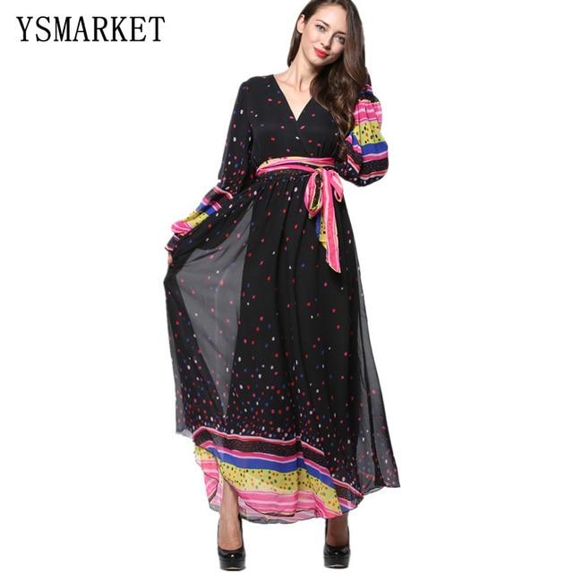 4eac66096da4ff Femmes D'été Élégant Musulman Mousseline de Soie Vêtements Lanterne Manches  Imprimer Dot Maxi Robe Longue Plus La Taille 6XL 7XL Robes E9031
