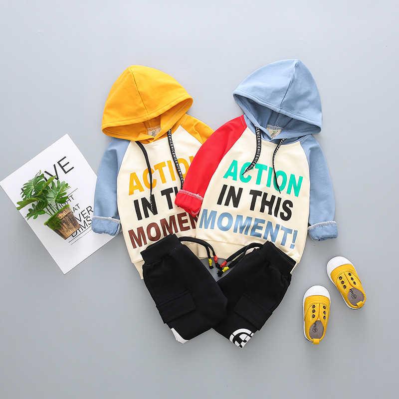 BINIDUCKLING Tập Đi Bé Trai Gái Kid Bộ Quần Áo Có mũ + Quần Mùa Xuân Thu Đông Dài Tay Thể Thao Dành Cho MỘT Cậu Bé quần áo
