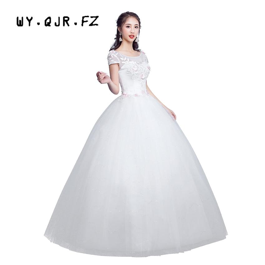 LYG-H02 # automne hiver nouveau à lacets mariée mariée robe de mariée grande taille longue se marier robes 2019 blanc personnalisé pas cher en gros