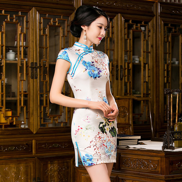 Women Retro Slim Summer Chinese Dress Cheongsam Qi Pao Silk Embroidery Orchid Peony Flower Printing Short Cheongsams