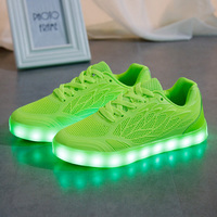 STRONGSHEN Summer Children Breathable Sneakers With Light Sport Led USB Luminous Lighted Shoes For Kids Casual