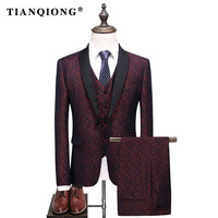 TIAN QIONG Brand Men Tuxedo Suit red S 5XL Shawl Collar 3 Pieces Dress Suit Slim Fit Groom Wedding Suits for Men Formal QT520