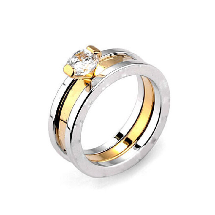 Gold Plated Stainless Steel Wedding font b Rings b font Made With Austrian Crystal Stellux Cubic