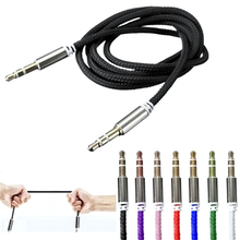 цена на High Quality 1M Car Audio Jack Plug Male To Male AUX Cable 3.5 Mm Audio Male to Male Cables For Headphone MP3