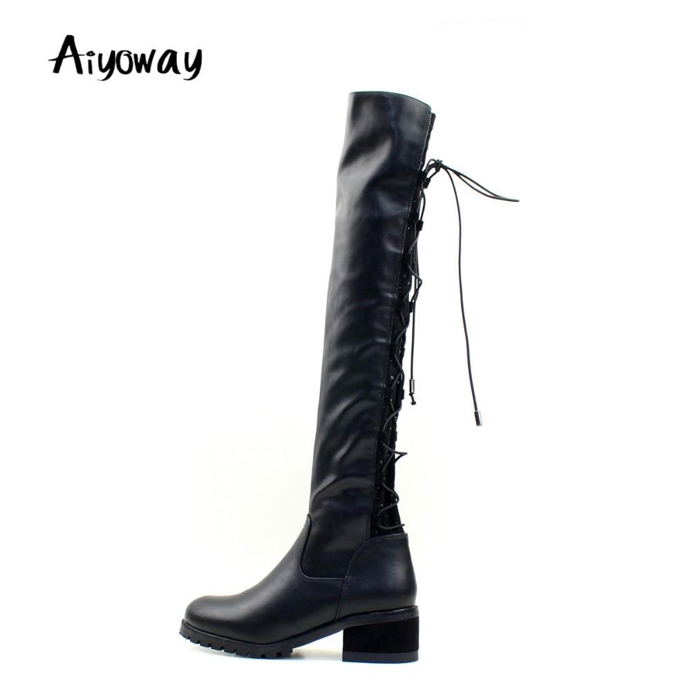 купить Aiyoway Fashion Women Ladies Round Toe Low Heel Lace UP Over Kne Boots Warm Winter Party Dress Shoes Black Russia Size 36~40 недорого