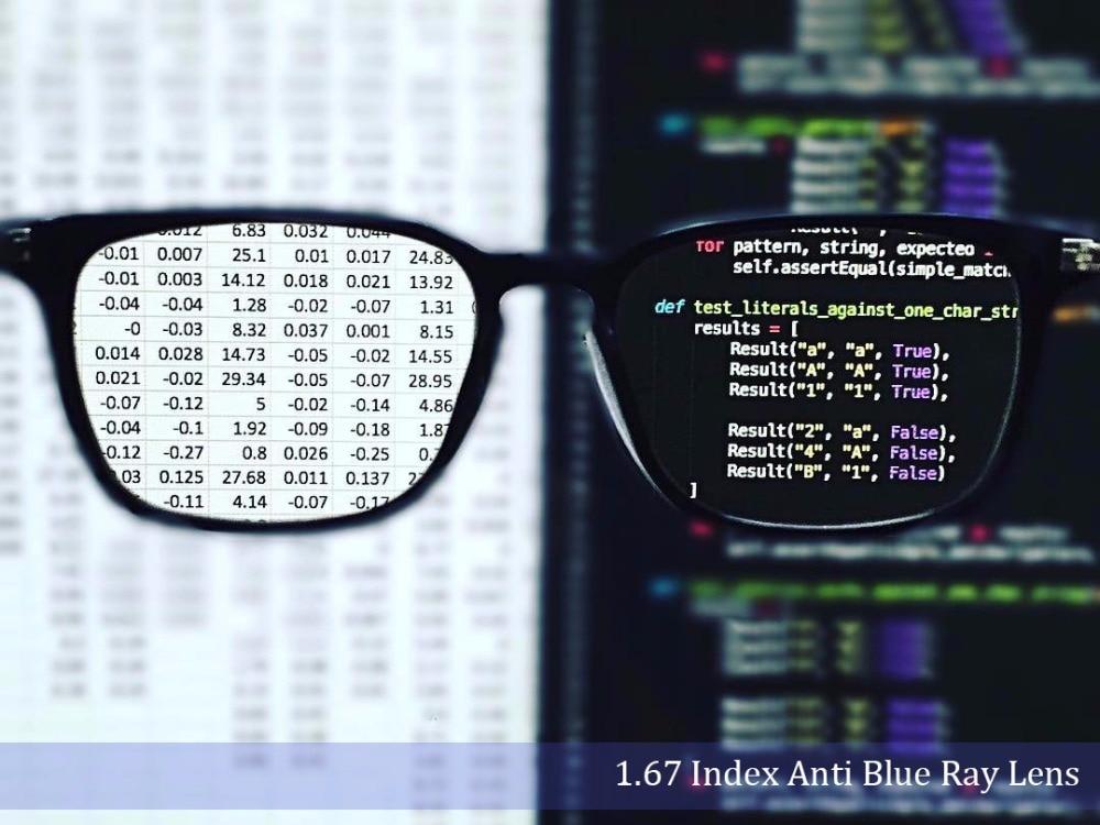 1 67 Index Single Vision Anti Blue Light Eyeglass Lenses Aspherical Anti Scratch Anti Reflection Optical