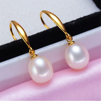 Free Shipping Natural Freshwater Pearl Earrings Pearl Jewelry 925 Sterling Silver Sterling Silver Jewelry Earrings For