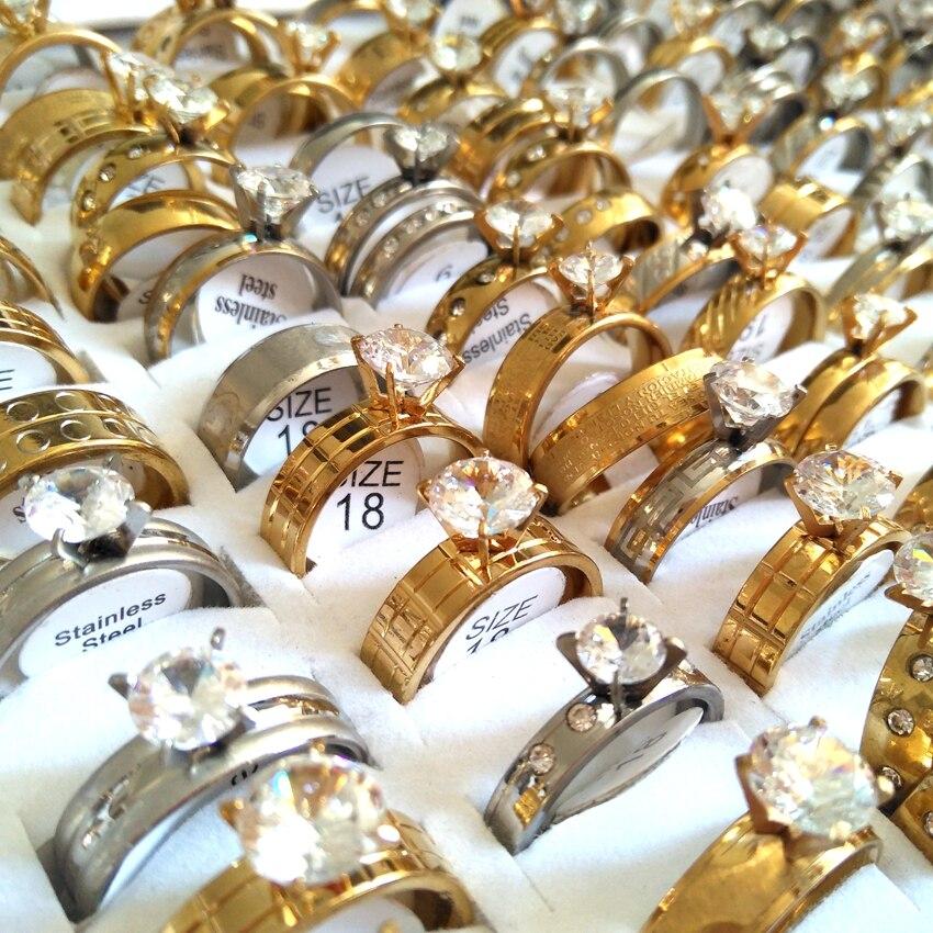 Bulk lots 100PCS Luxury Men s Women s Gold Silver Tone Rings for Lover Styles Mix