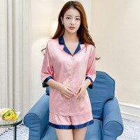 Qweek اثنان قطعة مجموعة المرأة الوردي النوم الحرير منامة مثير منامة الدانتيل البيجامات homewear ملابس نوم الحرير الصيف