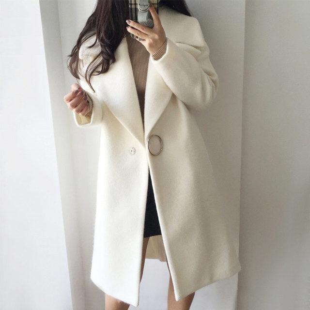 2018 White Wool Blend Coat Women Lapel Long Parka Winter Jacket Cocoon Style Elegant Woolen Coat Thicken Female Outerwear C3745