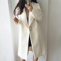 2019 White Wool Blend Coat Women Lapel Long Parka Winter Jacket Cocoon Style Elegant Woolen Coat Thicken Female Outerwear C3745