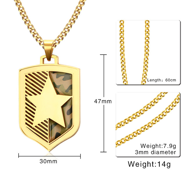 Online shop vnox gold color five pointed star mens necklace vnox gold color five pointed star mens necklace camouflage necklaces pendants punk shield necklace for men jewelry aloadofball Image collections
