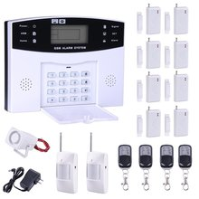 New Arrivel LCD Screen 433MHz Remote Control Home Security System GSM Alarm System Wireless PIR Door Window Sensor Wired Siren