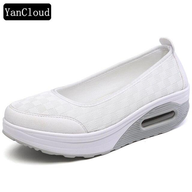 Solid Colors Casual Women's Breathable Platform Shoes Soft Sole & Comfortable