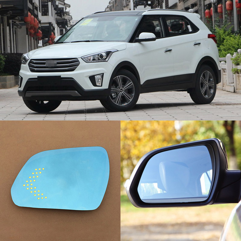 For Hyundai IX25 Brand New Car Rearview Mirror Blue Glasses LED Turning Signal Light with Heating for volkswagen sagitar brand new car rearview mirror blue glasses led turning signal light with heating