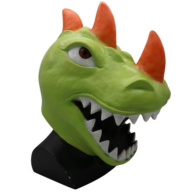 KOOY Halloween Full Face Dinosaur Head Mask Party Cosplay Costume For Men Women Color Helmet  Unisex Props For Theme Game