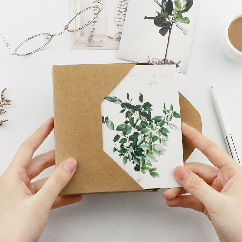 30 Pcs/pack Cute Leaves Postcards 143*93mm Leaf Plant Design Painting Style Note Card Creative Postcard Kids Gifts