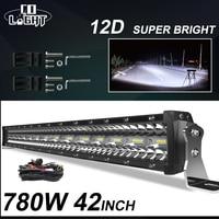 CO lumière 3 rangées 42 pouces barre de LED 780W Combo barre de lumière LED pour voiture tracteur Offroad 4WD 4x4 camion SUV ATV conduite lumière de travail 12V 24V