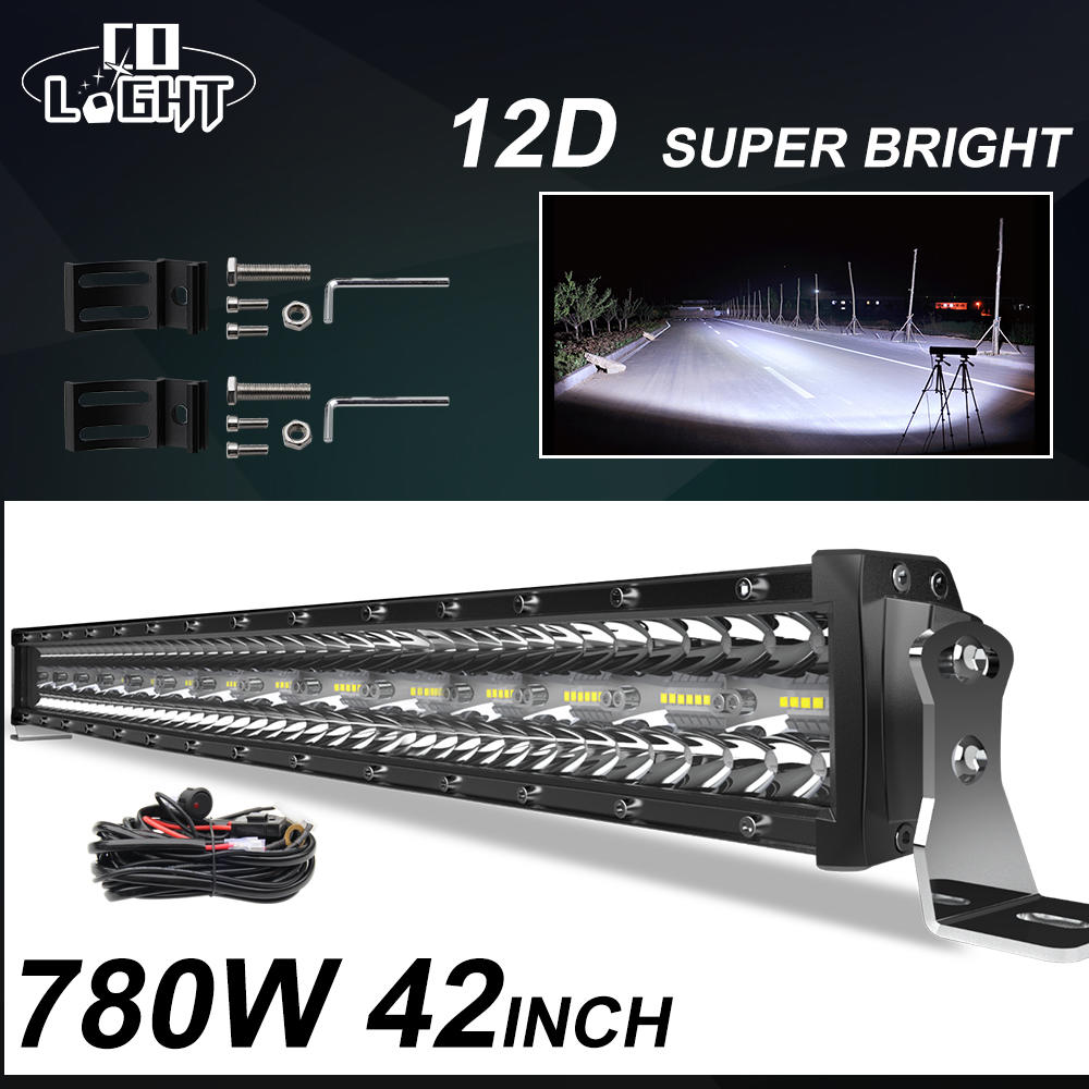 Led-Bar Combo Driving-Work-Light Car-Tractor-Offroad SUV 4x4 Truck 42inch 24V 780W