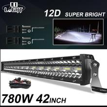 Światło CO 3 rzędy 42 cal LED do baru 780W kombi listwa świetlna LED do samochodu ciągnika Offroad 4WD 4x4 ciężarówka SUV ATV jazdy światło robocze 12V 24V