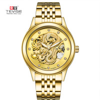 TEVISE Golden Dragon Waterproof Automatic Mechanical Wristwatches Stainless Steel Men's Watches