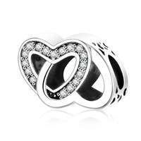 New Authentic 925 Sterling Silver 2017 Valentine S Day Double Heart CZ Beads Fit Original Pandora