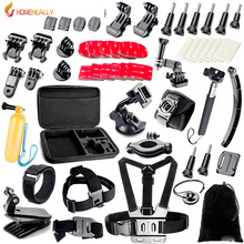 Gopro Action Camera Accessories Kit for Hero 5 4 3 SJCAM SJ4000 SJ5000 Bundles with Chest Harness Mount/Suction Cup Mount