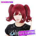 New Arrive Top Quality Black Butler Merlin Cosplay Wig Cos Costume wig Red wine Wig Cap Free Shipping+ Free Wig Cap