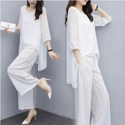 Two Piece Blouses And Pants Sets 2019 Summer Elastic Waist Stripes Chiffon Wide Leg Pants 2 Piece Set Fashion Outfits