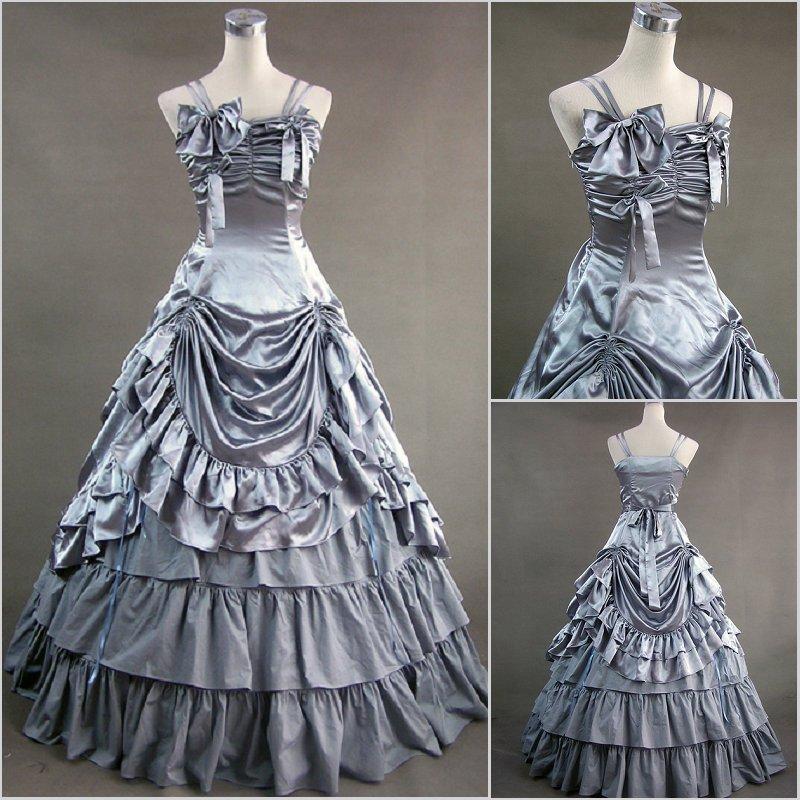 Long victorian lolita dresses 2016 Elegance Green Satin Gothic Victorian Dress With Petticoat Customized