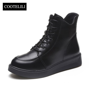 COOTELILI Plus Size Women Rubber Boots Women High Quality Black Flat Boots Fashion Winter Ankle Boots For Women 35-40