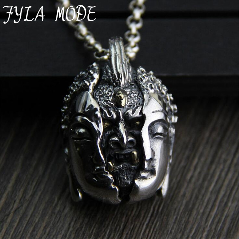 S925 Sterling Silver Pendant Personality Male Hand Carved Evil From The Heart Thai Silver Necklace Pendant 26*37MM 29G PBG066 925 sterling silver jewelry necklace pendant retro evil vajra pestle jiangmo avoid evil spirits musical instruments