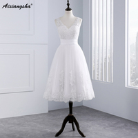 Modern Knee Length Casual Lace Wedding Dresses 2016 Cheap Lace Long Sleeve Sheer Sweetheart Bride Dresses