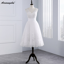 Hot Sale 2017 Lace Short Wedding Dress Appliques Tea Length Bride Gown Vestido De Noiva cheap elegant wedding V-neck Sleeveless