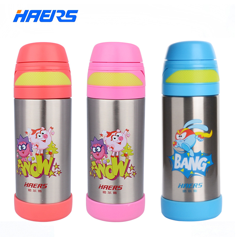 280ML HAERS Cute Smeshariki Thermos Baby Leak Proof Stainless Steel Kids Thermos Bottle 6 12 hours