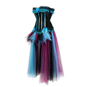 Image 2 - Womens Gothic Corset Dress Victorian Retro Gowns Corsets and Bustiers Long Skirt Set Dancing Costumes Plus Size Vintage Style
