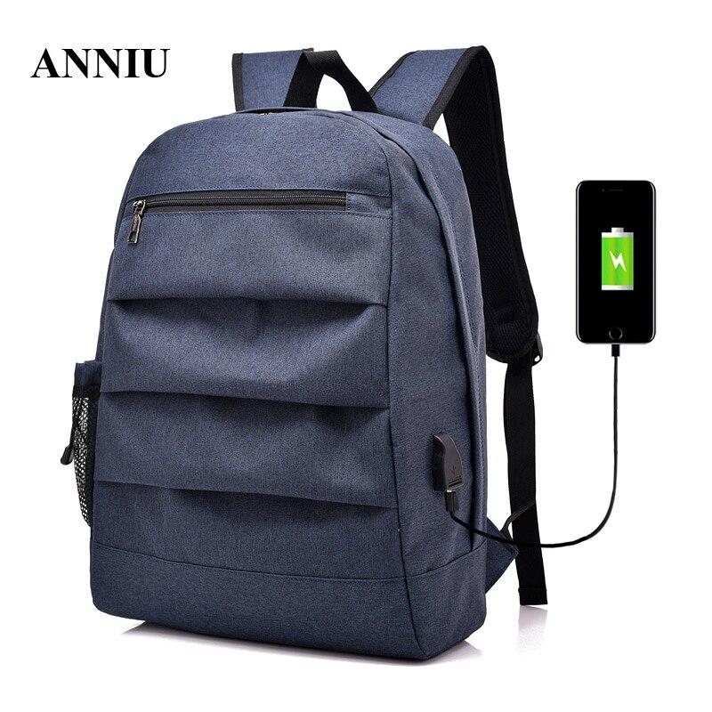 ANNIU 2018 nouveau décontracté hommes sac à dos pour adolescents étudiants sac à bandoulière filles garçons voyage Mochila sac à dos pour ordinateur portable avec charge USB