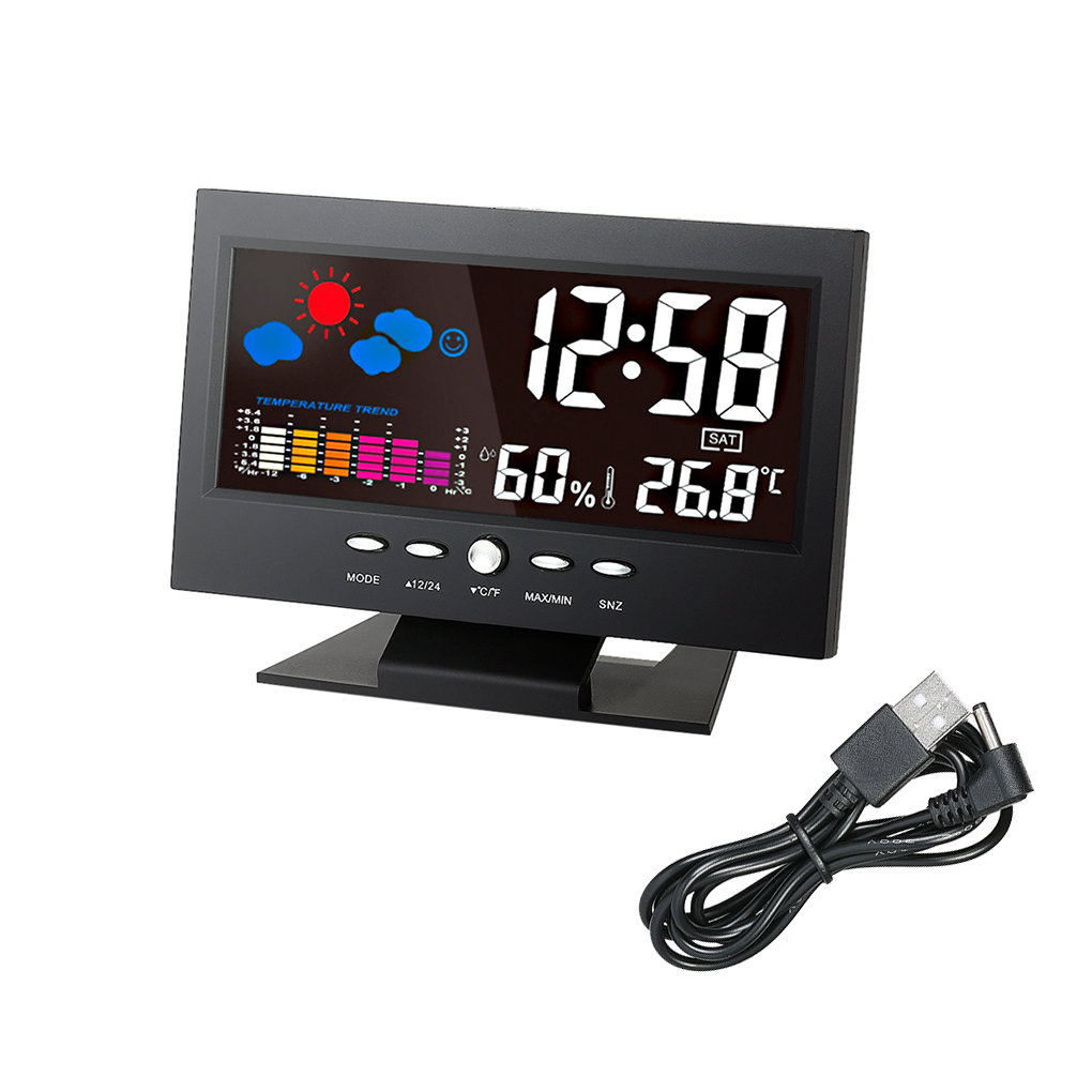 Colored LCD Temperature Humidity Clock Thermometer Hygrometer Weather Forecast Vioce-activated Backlight with USB Cable
