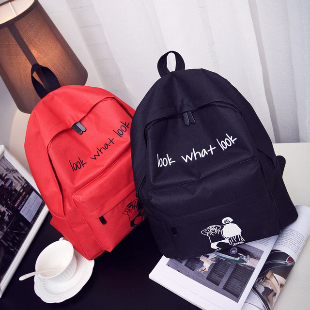 Trendy backpack boys and girls junior high school students bag cartoon  canvas wild backpack 7a86529ce32a8