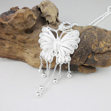 Hollow Out Beads 999 Sterling Silver Pendant Chakra Butterfly Dangle Charms Necklaces Pendants Women Trendy Jewelry Luxury цена в Москве и Питере