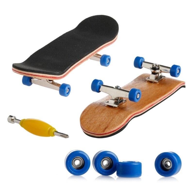 1 Набор деревянный скейтборд с коробкой, Детская колода, спортивная игра, подарок клен, новинка, пальчиковая игрушка для взрослых детей, 6 цветов - Цвет: deep blue
