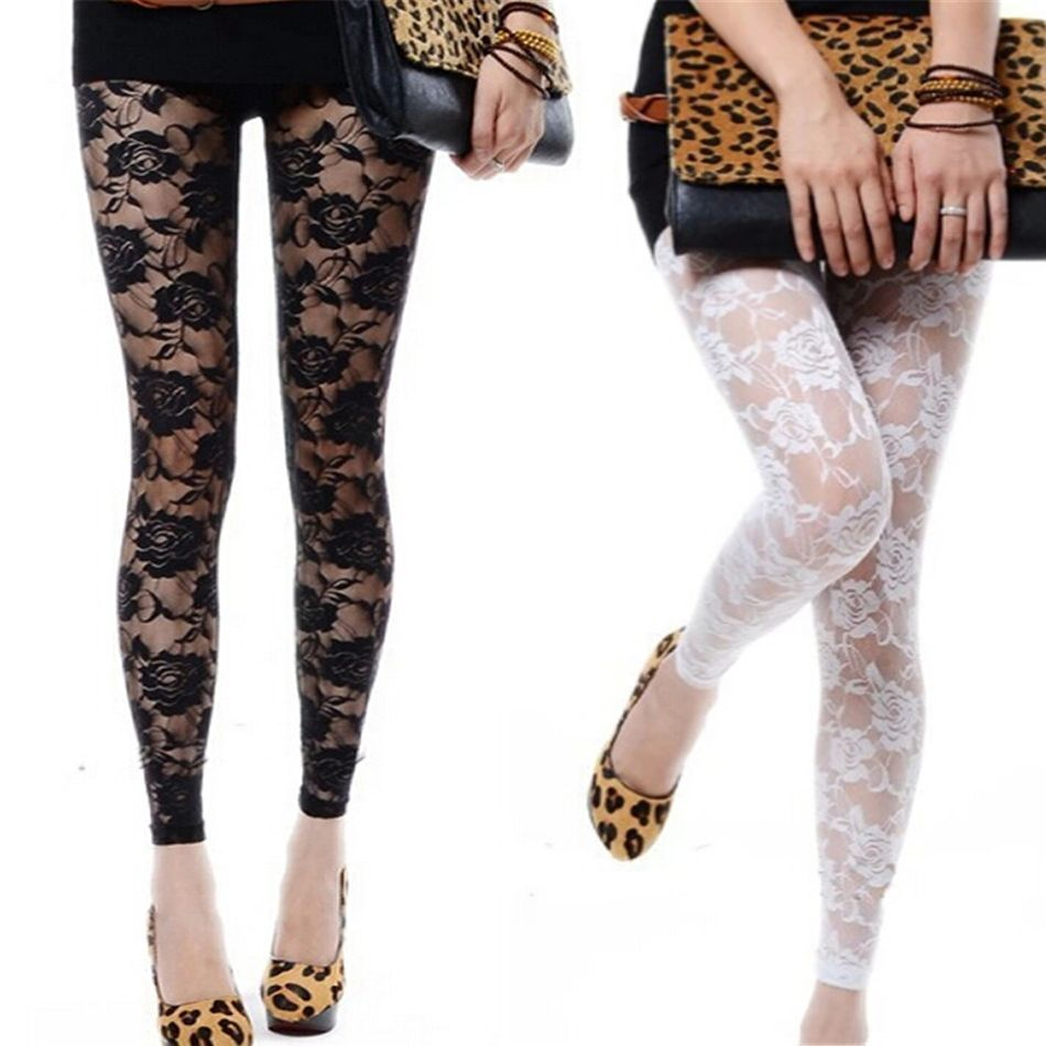 Elegant New Sexy Women Lady Rose Lace See-Through Footless Tights - Black Or White