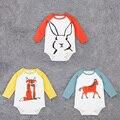 2016 New Baby Boy Bodysuit Animals Fox Horse Rabbit Print Children's Clothes for Newborns Cotton Long Sleeve Cartoon Jumpsuit