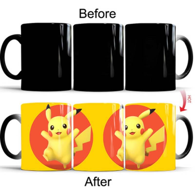 New 350mL Pikachu Magic Coffee Mugs 7 Styles Creative Cartoon Kids Gift Cups Mug Changed Color Milk Tea Gifts