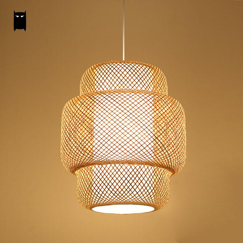 Bamboo Wicker Ratan Lantern Shade Pendant Light Fixture Asian Japanese Suspension Lamp Plafon Luminaria Dining Table Study Room