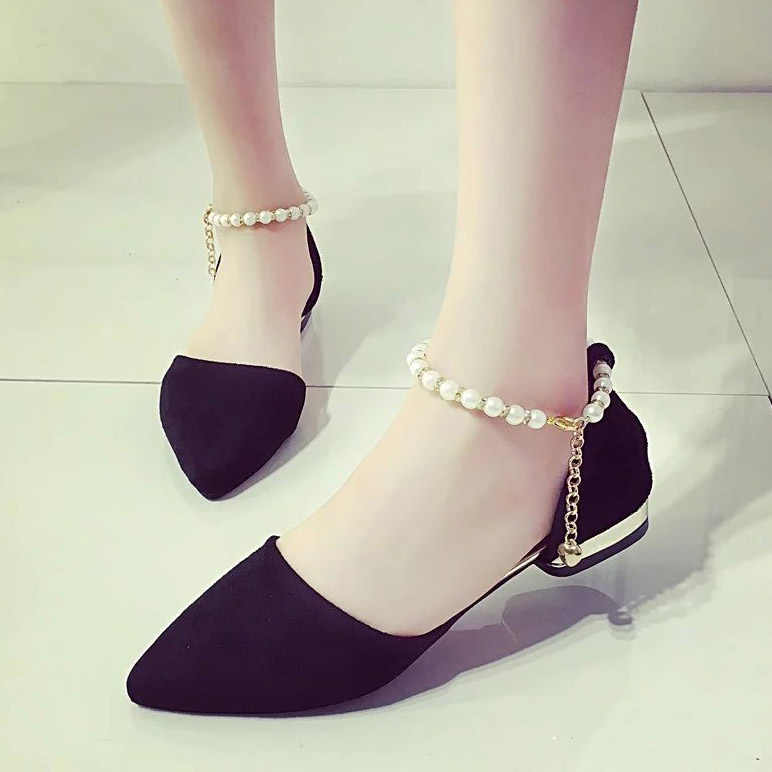 Plus Size Women Flats String Bead Ankle