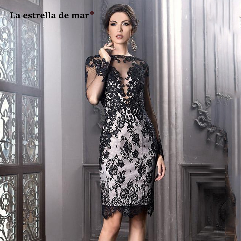 Vestidos De Fiesta De Noche2019 New Boat Neck Lace Long Sleeve Black Sexy Mermaid Mother Of The Bride Dresses After Split Tea